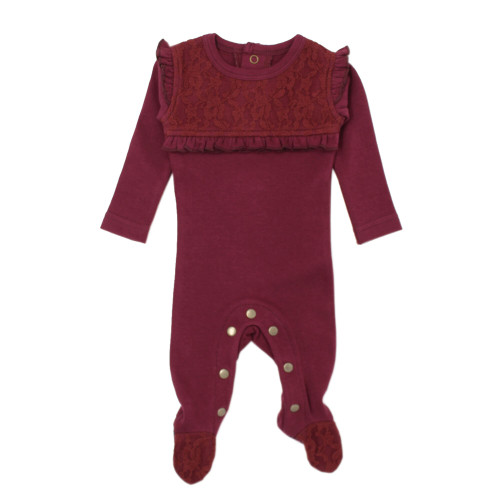 Organic Cotton Lace Footed Romper, Cranberry