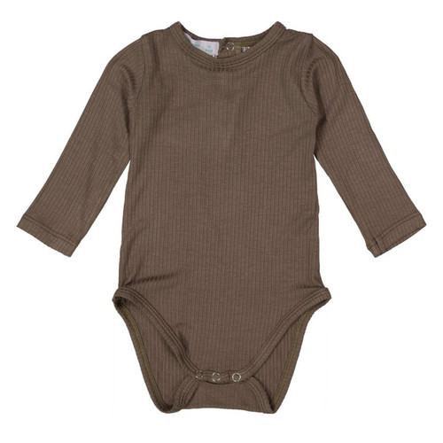 Ribbed Long Sleeve Bodysuit, Mocha Grey