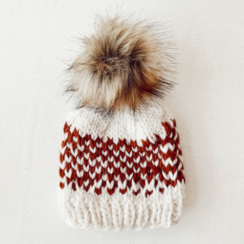 Fair Isle Pom Hat, Cinnamon