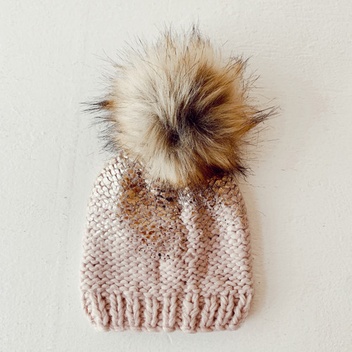 Metallic Pom Hat, Blush/Gold