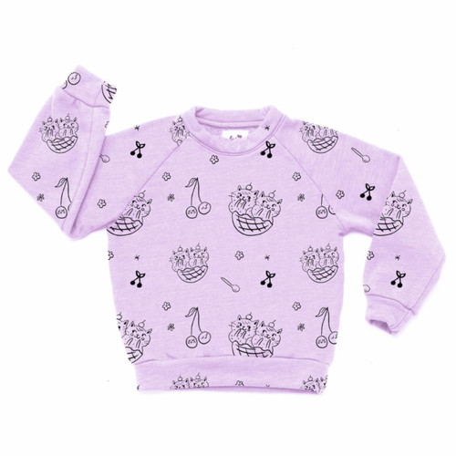 All Over Cat Sundae Raglan Sweatshirt, Violet
