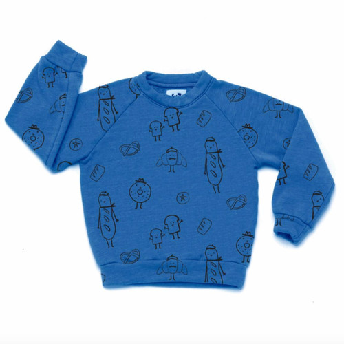 All Over Bread Raglan Sweatshirt, Steel Blue