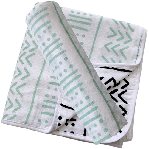 Swaddle & Quilt Bundle Set, Seafoam Mudcloth