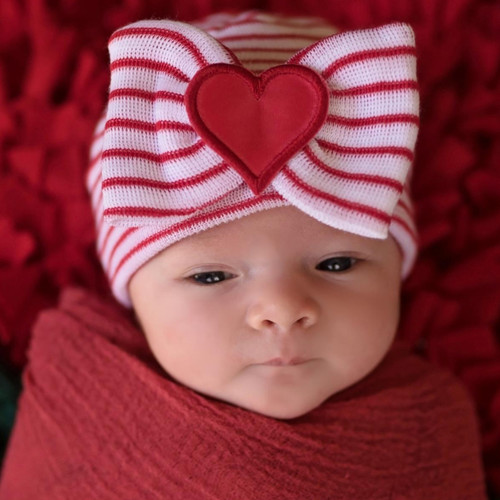 Newborn Bow Hat, Heart Stripe