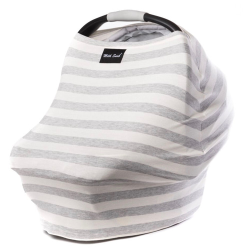 Milk Snob Car Seat Cover Cream and Grey Stripes