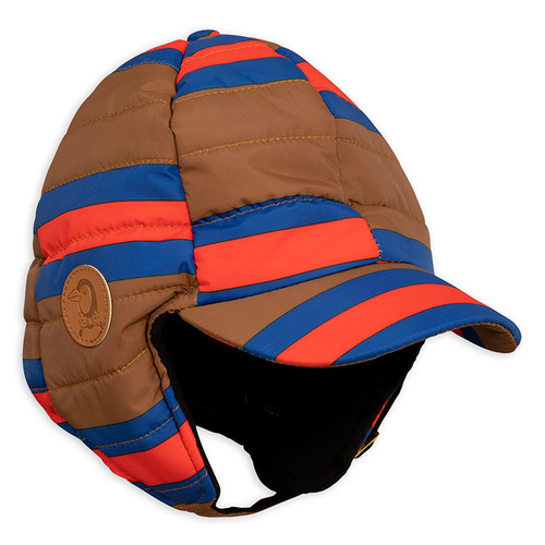 Mini Rodini Stripe Insulator Cap, Brown