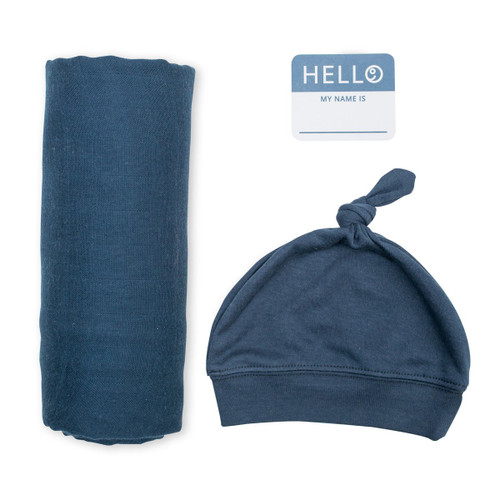 Hat & Swaddle Set, Navy