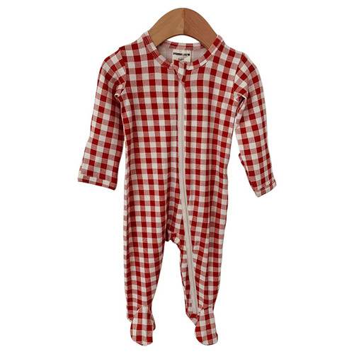 Basic Zipper Footie, Brick Gingham