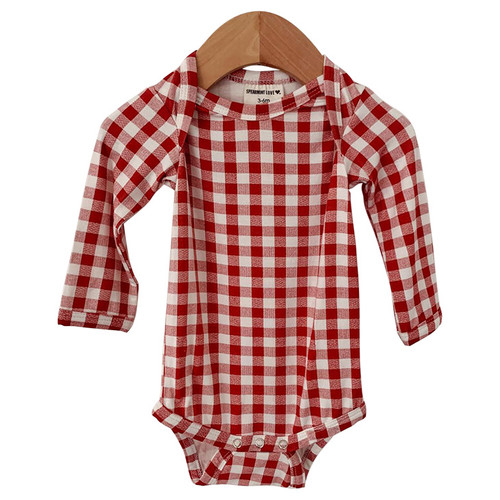 Long Sleeve Bodysuit, Brick Gingham