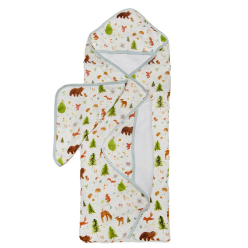 Terry Cloth & Bamboo Hooded Towel Set, Forest Animals