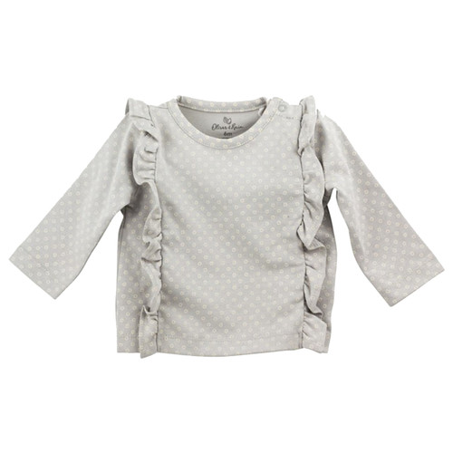 Organic Ruffle Tee, Gray and Ivory Dot