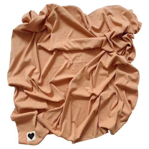 Organic Ribbed Stretch Swaddle, Camel