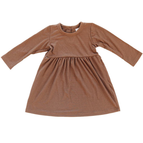 Long Sleeve Ribbed Dress, Cocoa