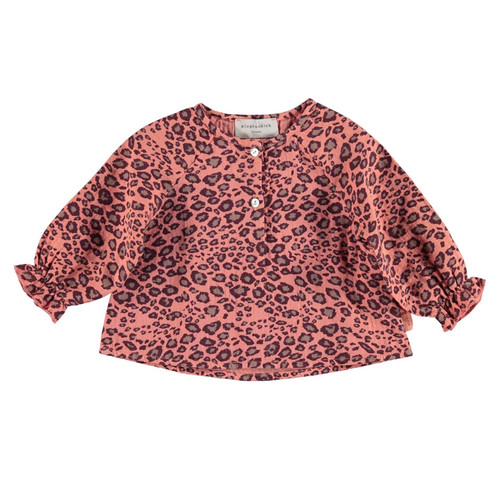 Baby Blouse, Coral Animal Print