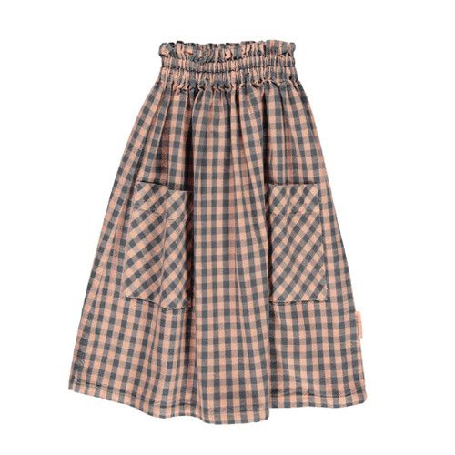 Cotton Checkered Skirt, Coral/Grey