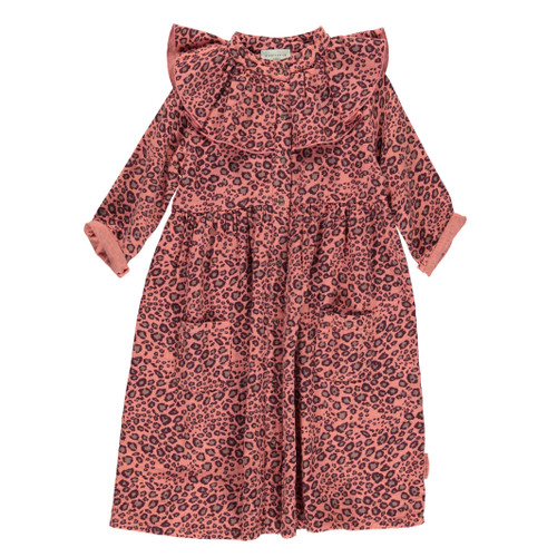 Frill Collar Long Dress, Animal Print