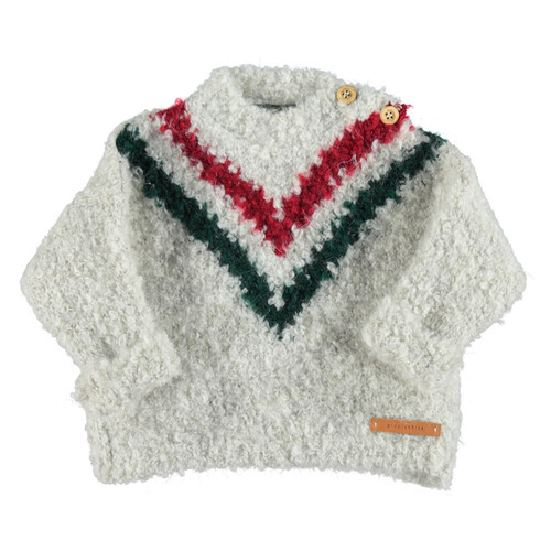 "Knitted Sweater, Garnet/Emerald ""V"""