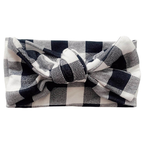 Knot Bow, Black Plaid