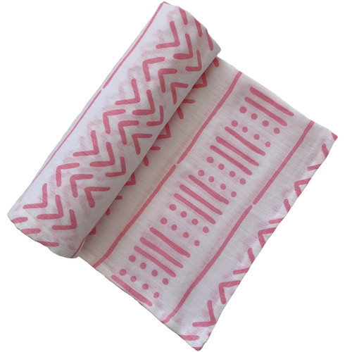 Muslin Swaddle Blanket, White/Pink Mudcloth