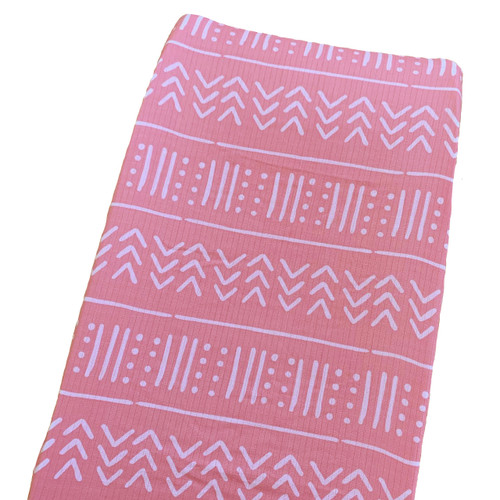 Muslin Changing Pad Cover, Pink/White Mudcloth