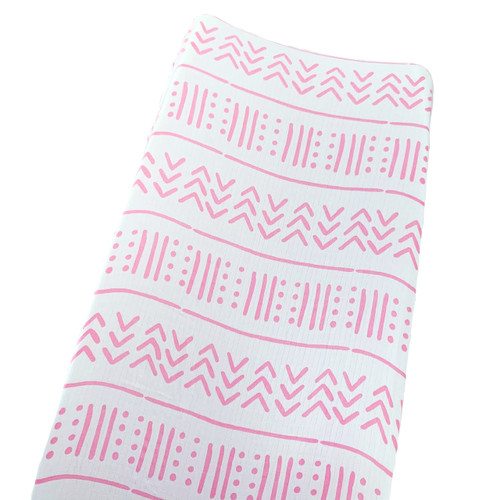 Muslin Changing Pad Cover, White/Pink Mudcloth