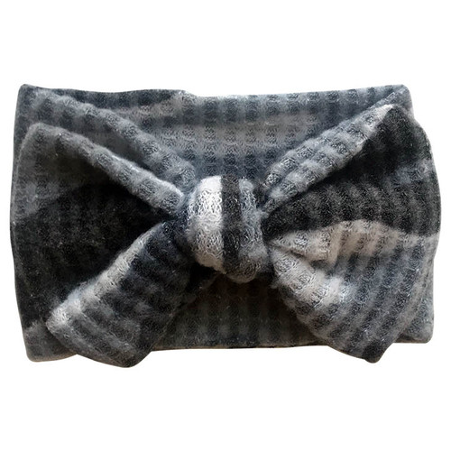 Sweater Bow Headband, Grey Camo