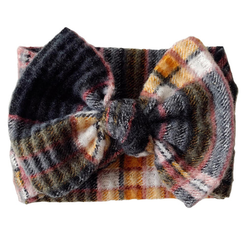 Holiday Collection Sweater Bow Headband, Black Plaid