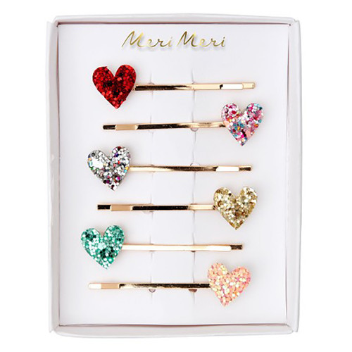 Glitter Hair Slides, Hearts