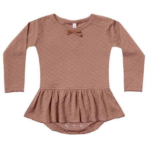 Pointelle Skirted Bodysuit, Clay