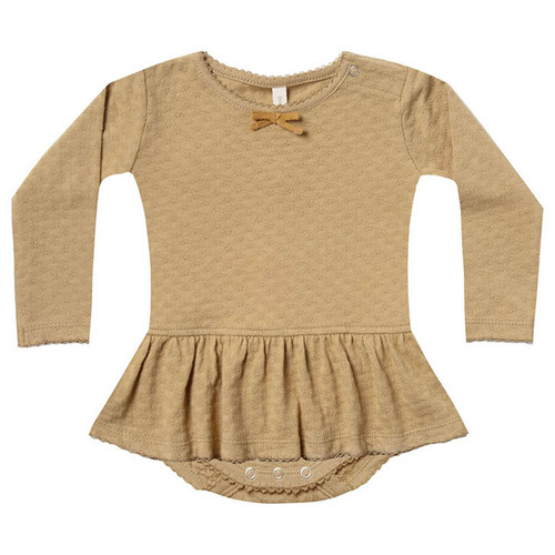 Pointelle Skirted Bodysuit, Honey
