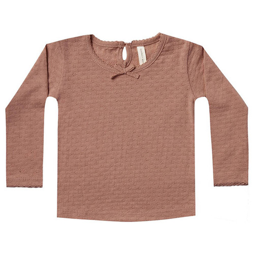 Long Sleeve Pointelle Tee, Clay