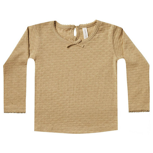 Long Sleeve Pointelle Tee, Honey