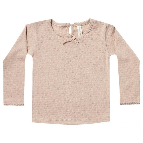 Long Sleeve Pointelle Tee, Rose