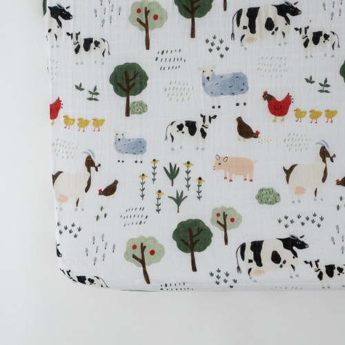 Muslin Crib Sheet, Family Farm