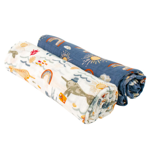 Muslin Swaddle Set, Narwhal/Hello Sunshine