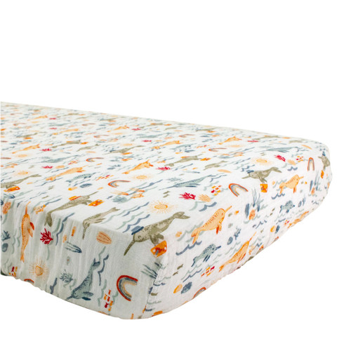 Muslin Crib Sheet, Narwhal