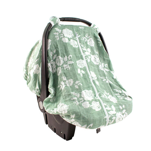 Muslin Car Seat Cover, Sage Floral