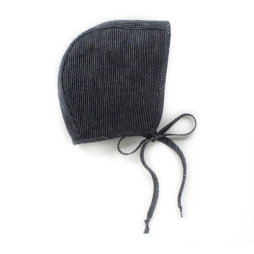Navy Stripe Baby Bonnet