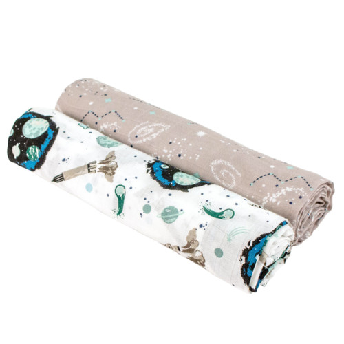 Muslin Swaddle Set, Space/Galaxy