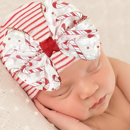 Newborn Bow Hat, Stripe Candy Cane