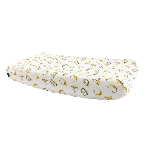 Muslin Changing Pad Cover, Floral Alphabet
