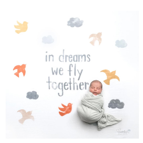 """In Dreams We Fly Together"" Organic Swaddle Scarf™"