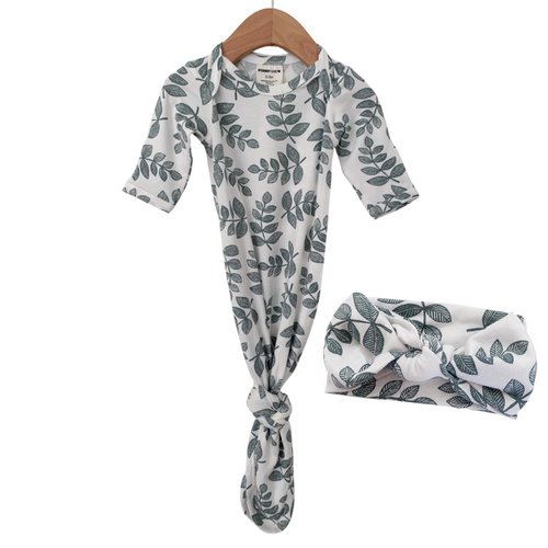 Knotted Gown & Bow Set, Sage Fern
