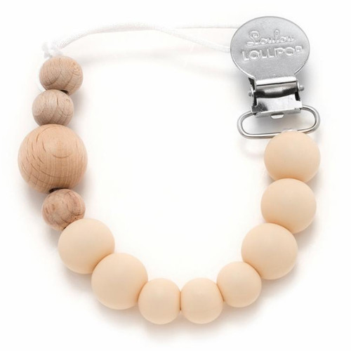 Lolli Silicone & Wood Pacifier Metal Clip, Beige