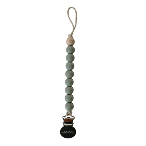 Beaded Pacifier Clip, Sage
