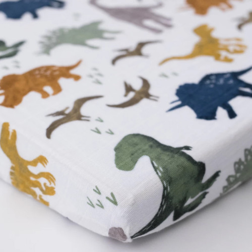Muslin Mini Fitted Crib Sheet, Dino Friends