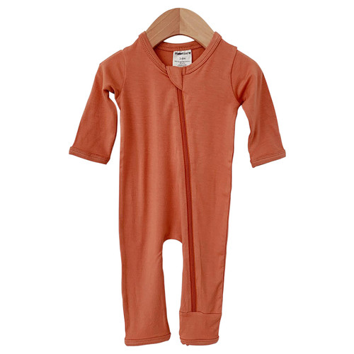 Basic Zip Romper, Rust