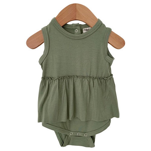 Sleeveless Skirted Bodysuit, Sage
