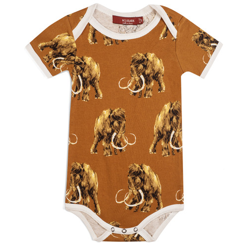 Organic Short Sleeve Bodysuit, Woolly Mammoth