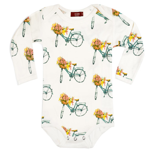 Bamboo Long Sleeve Bodysuit, Floral Bicycle